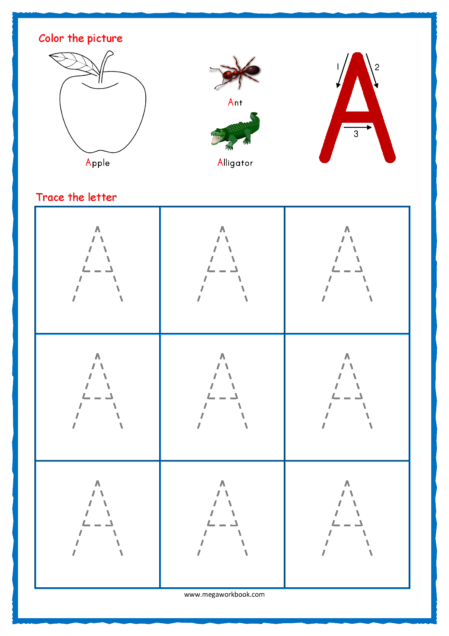 Tracing Large Letters Worksheets