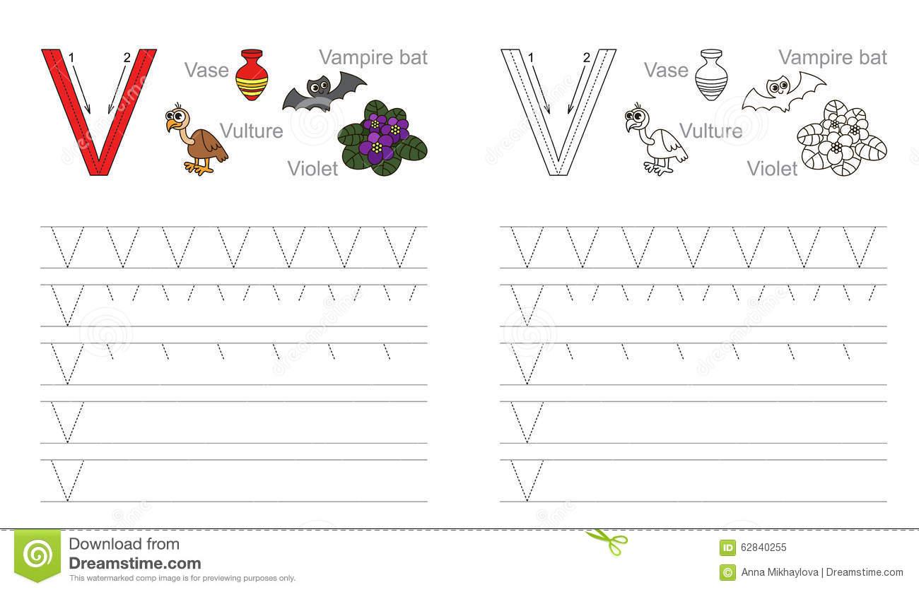 Tracing Letter V Worksheets