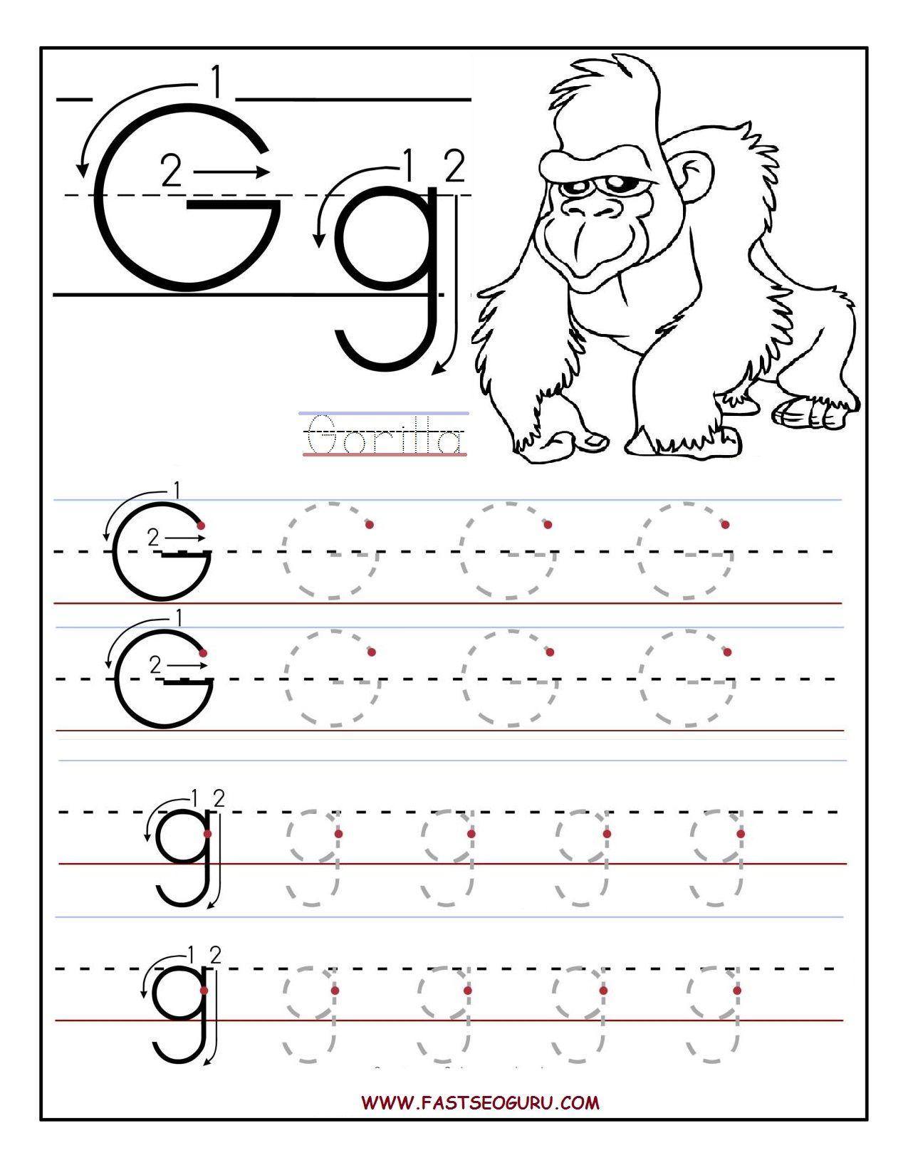 Tracing Letter G Worksheets