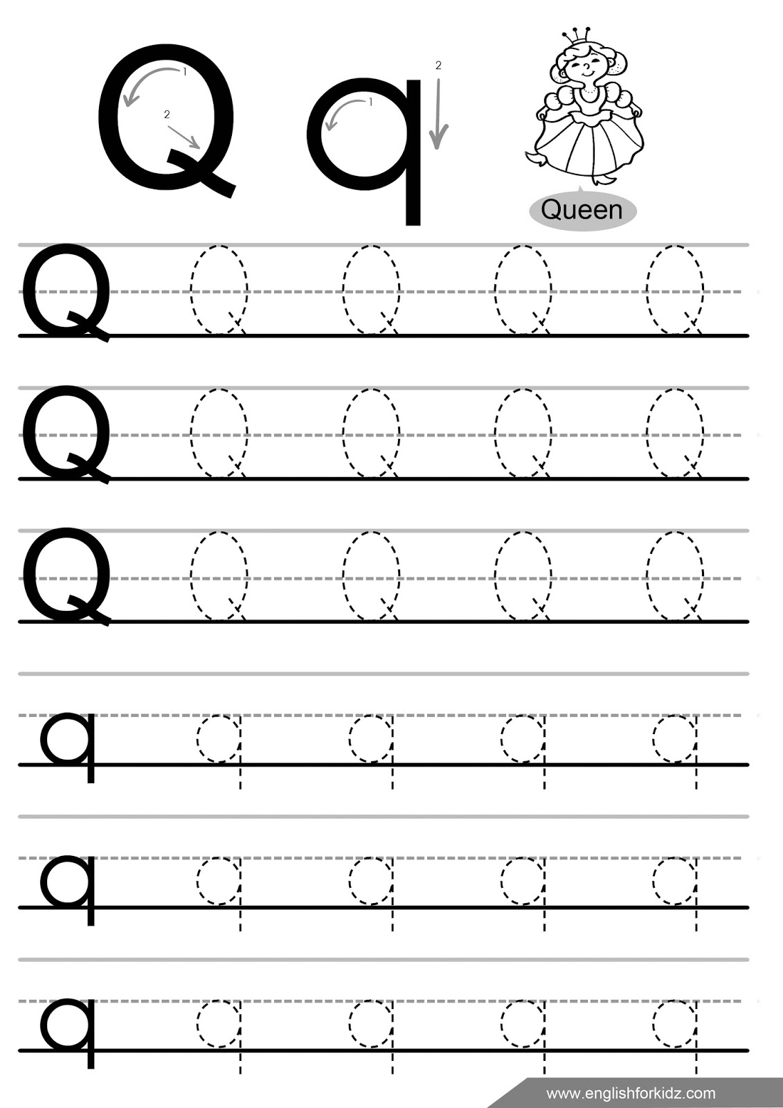 Tracing Letter Q Worksheets