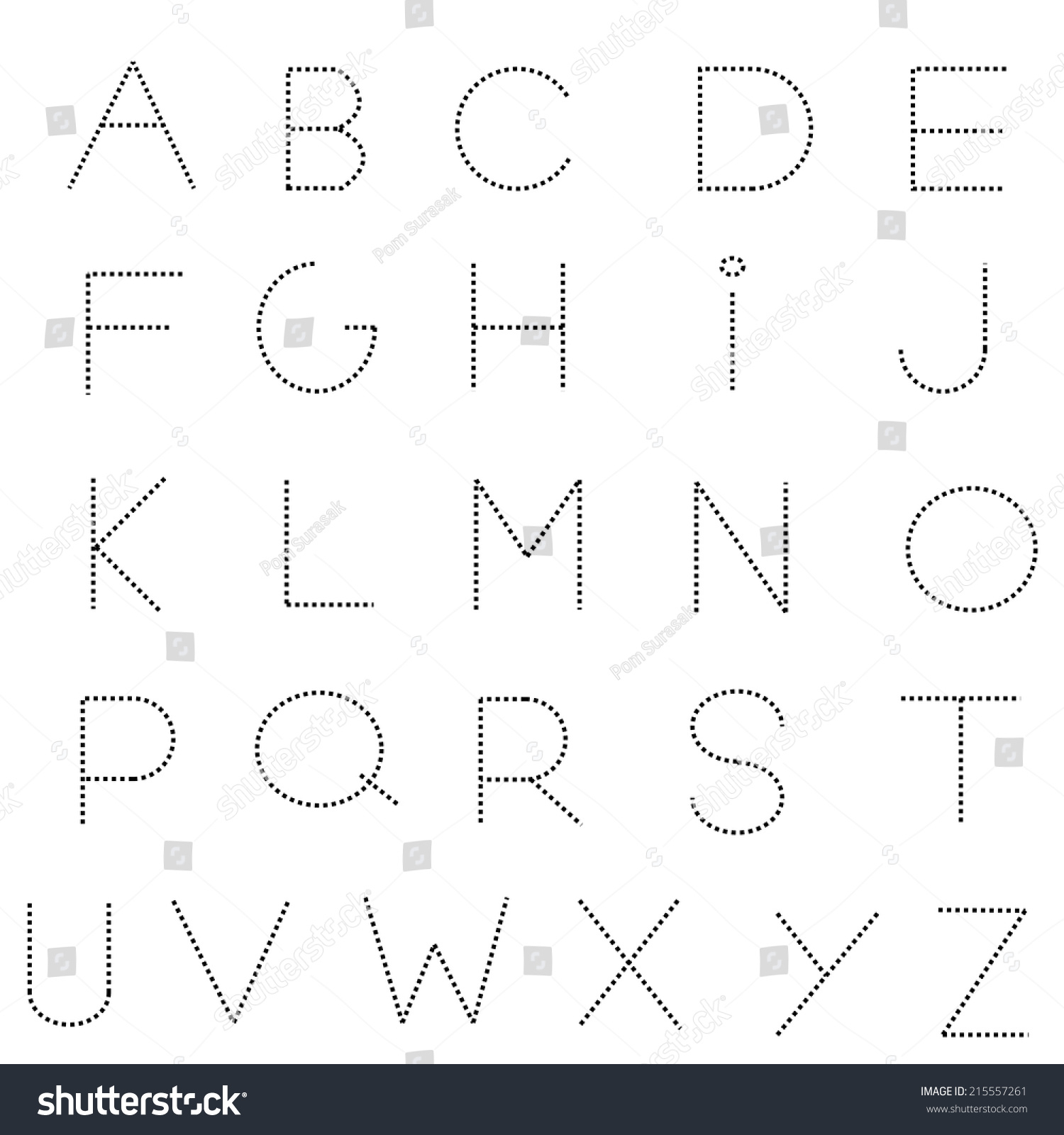 Dashed Letters For Tracing