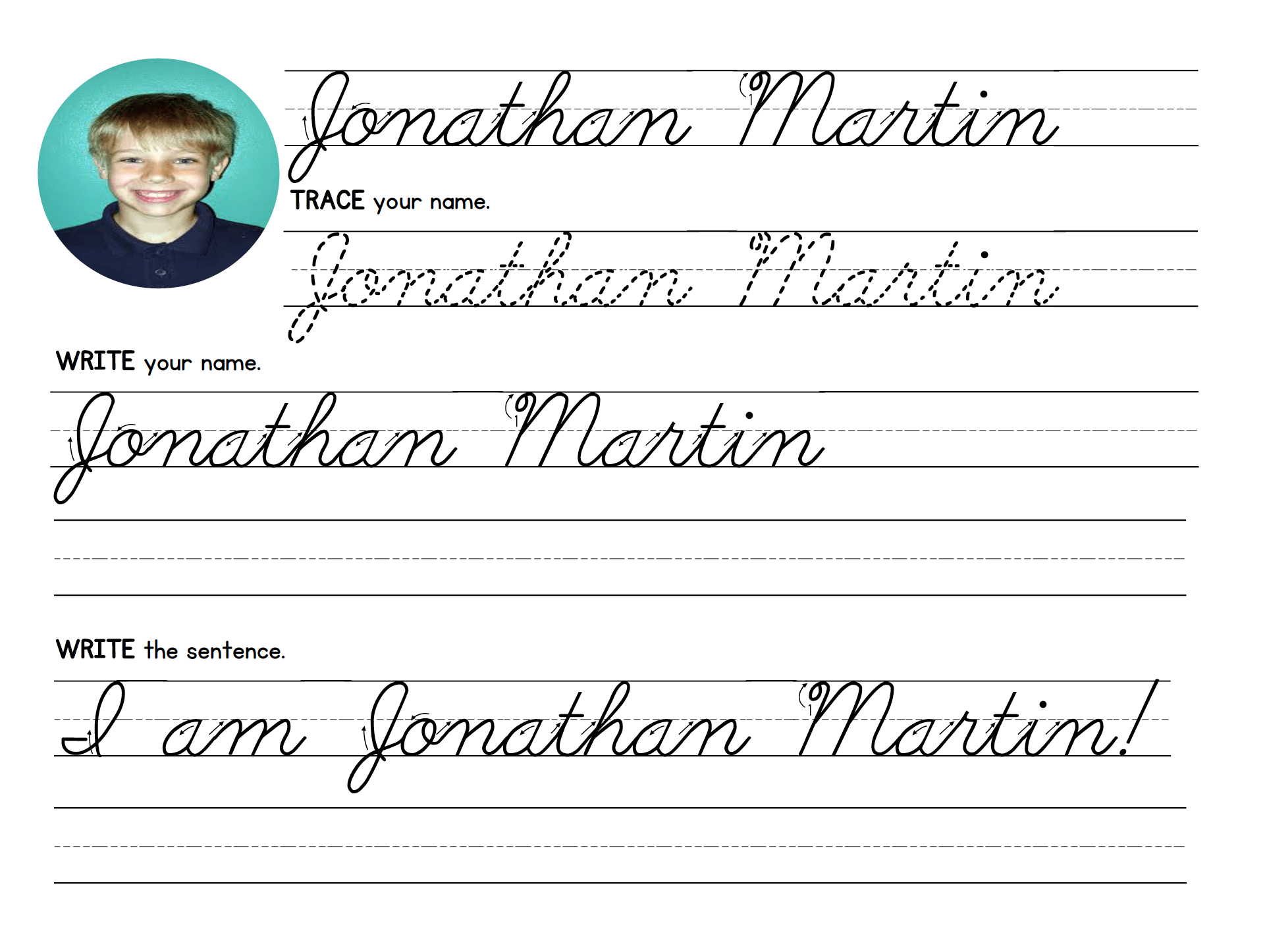 Name Tracing Pattern Cursive