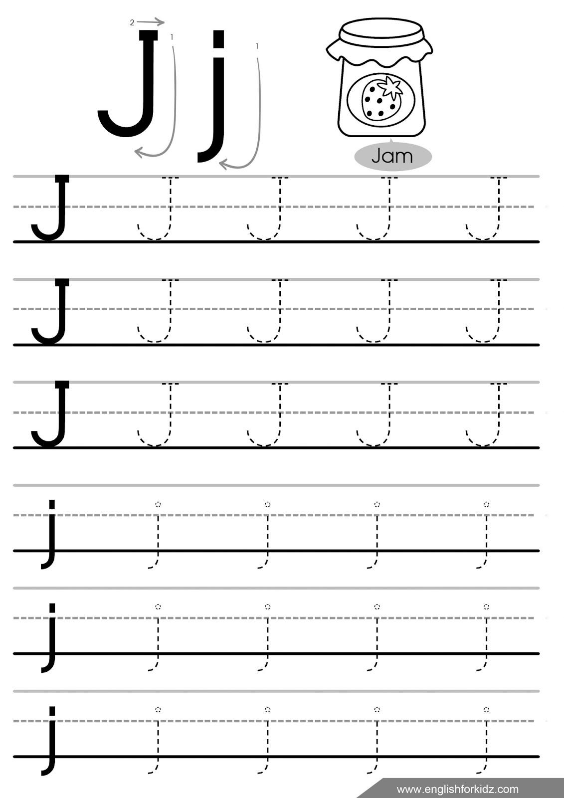 Alphabet J Tracing