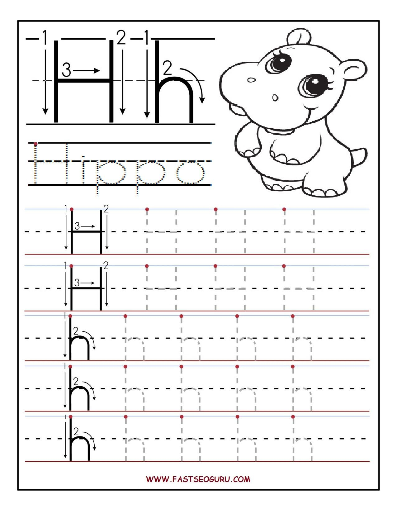 Alphabet Tracing Letter H