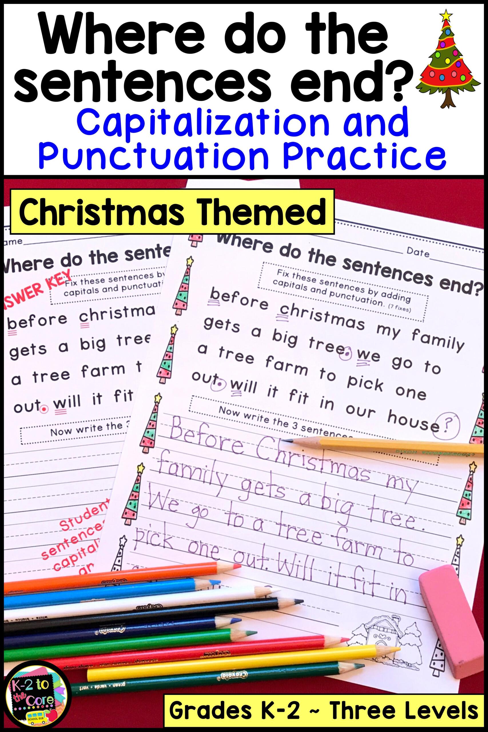 Christmas Editing Worksheets