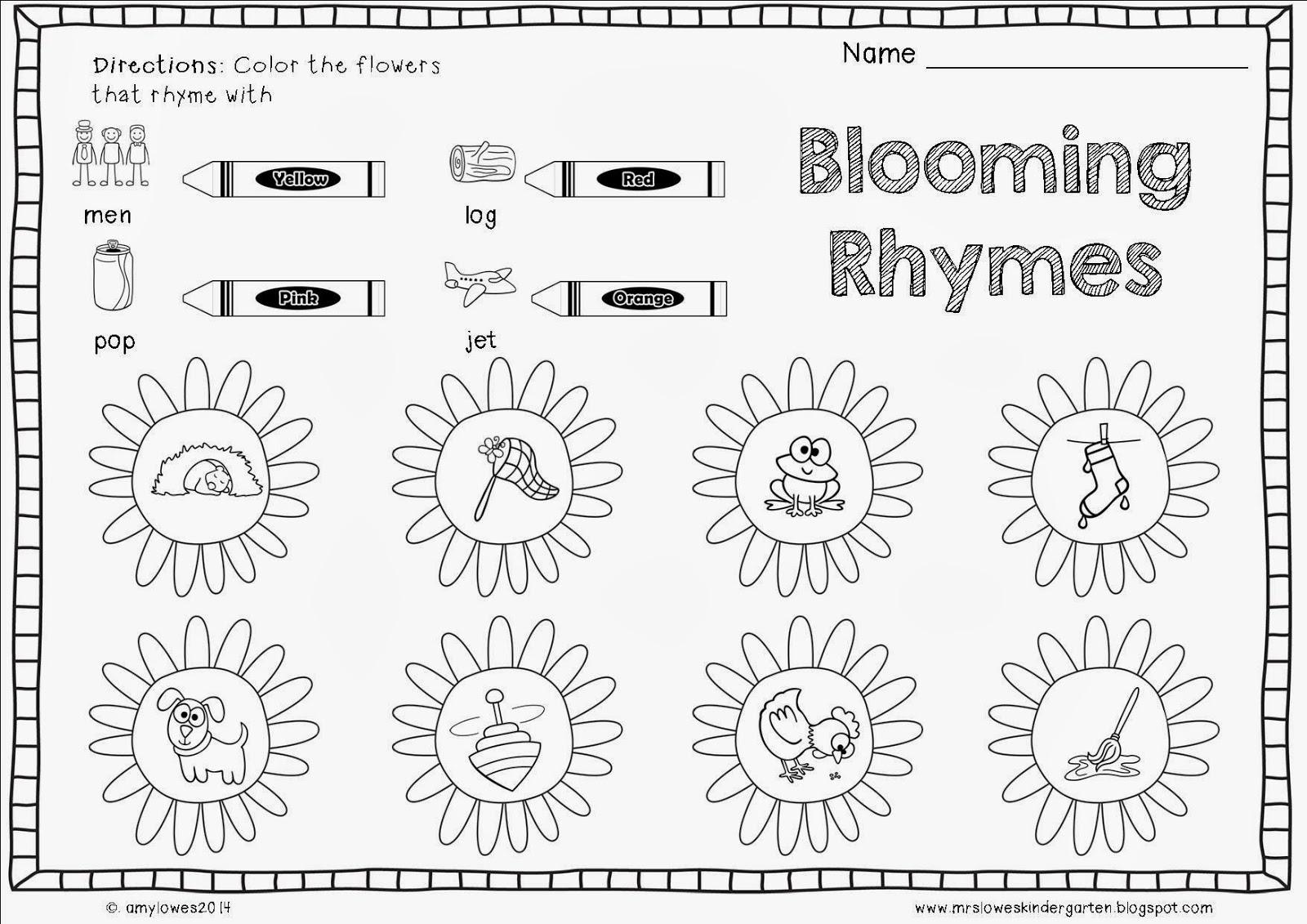 Christmas Rhyming Worksheets Kindergarten