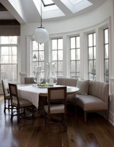 kitchen banquettes accessories store traci shulkin hoping to make the most of this sun filled nook space was well suited for a curved banquette style helps seating fit seamlessly in