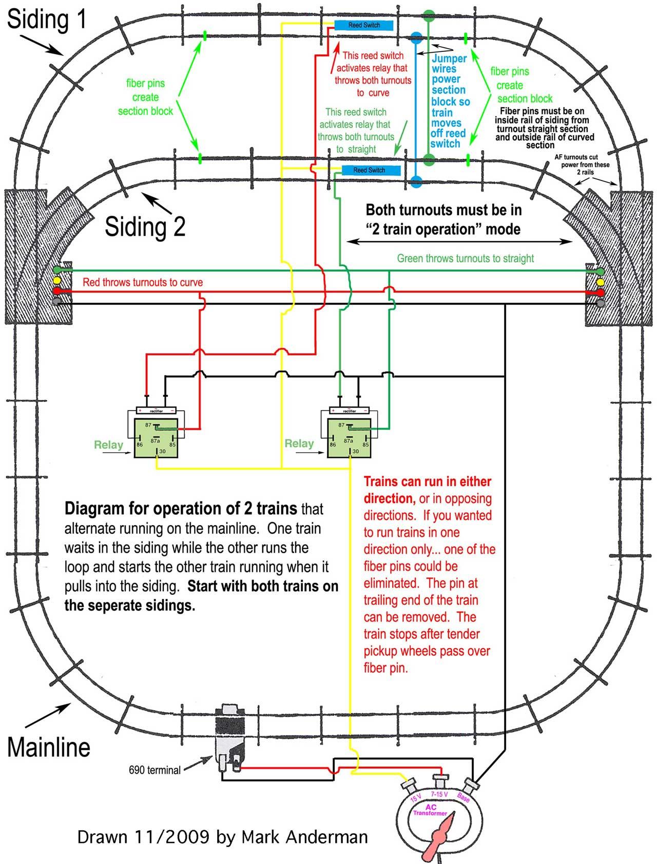 wiring a model rr siding diagram
