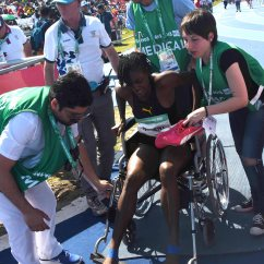Wheelchair Olympics French Round Back Dining Chairs Ackera Nugent In A After Running 12 96 At The 2018 Youth