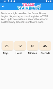 Easter Bunny Tracker Countdown screen