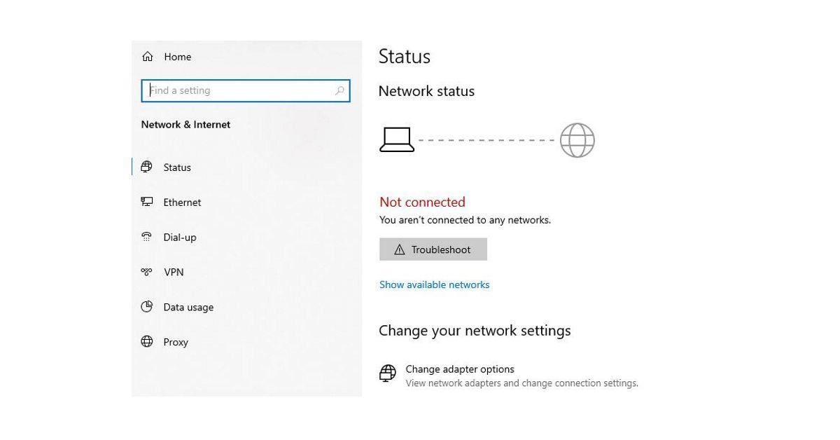 Windows 10 no internet connection