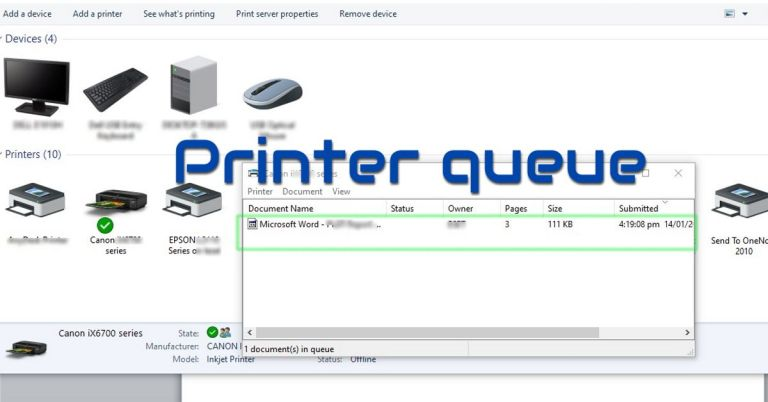 Clear print queue, fix printing in Windows 10