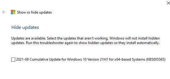 Windows Update show hide package KB5005565