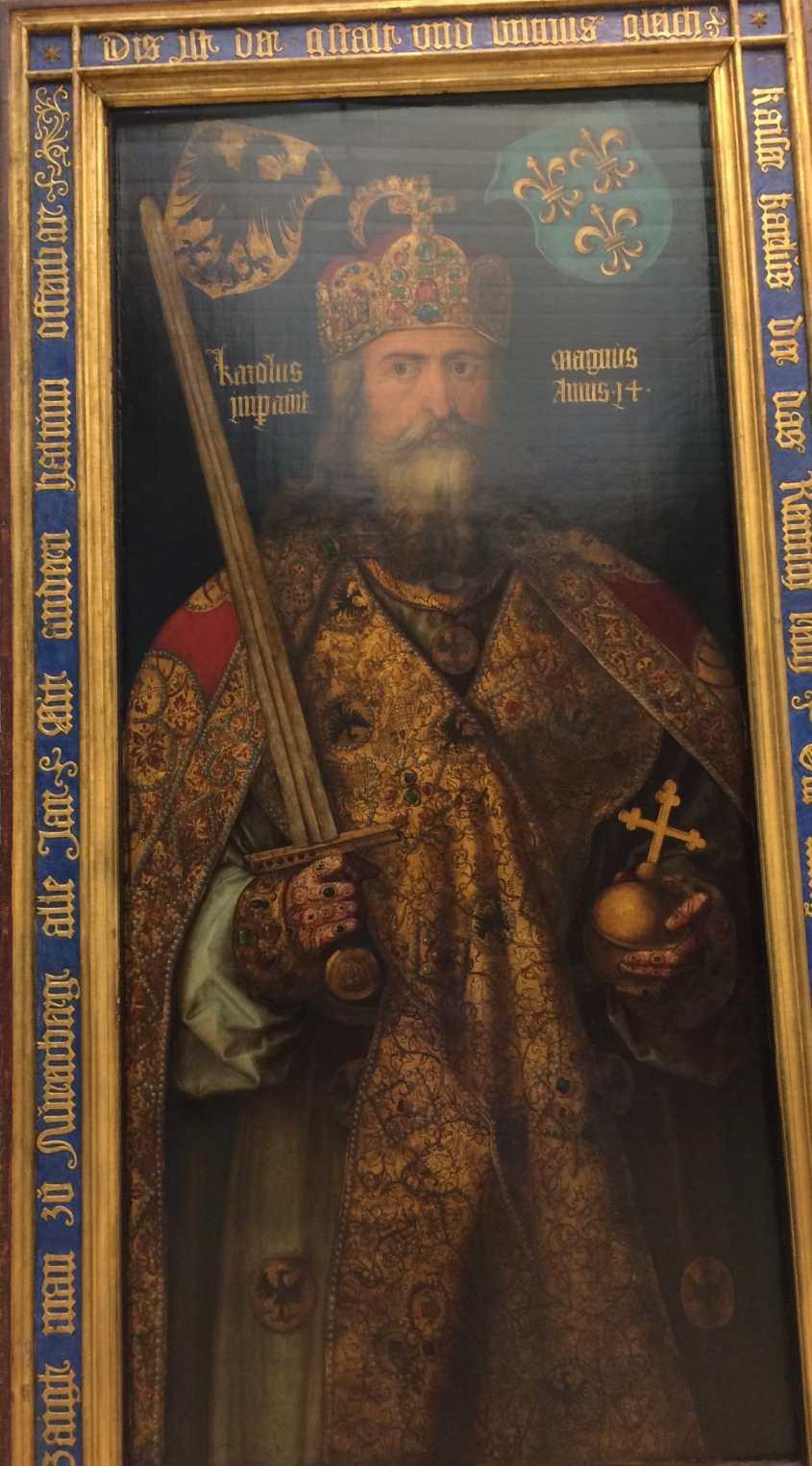 Il Carlo Magno di Dürer: un uomo sicuro di sé, con lo sguardo fisso in lontananza. Un uomo che sa che la politica vale molto di più della Bibbia.
