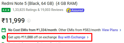 Redmi Note 5 Exchange offer
