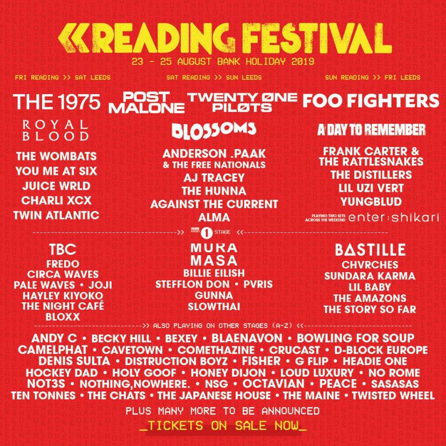 Line-up com as atrações do Reading & Leeds Festival 2019 nos dias de apresentação em Reading, que aconteceu entre os dias 23 e 25 de agosto.
