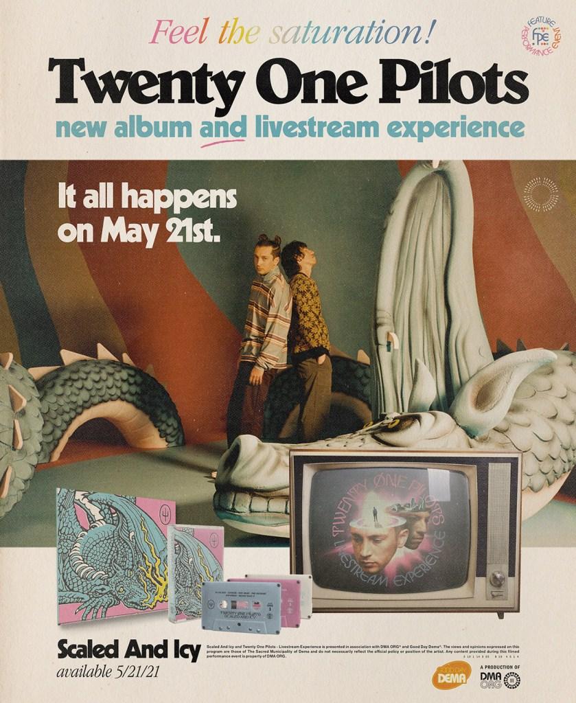 """Tudo leva a crer que este pôster é uma prévia do novo álbum do Twenty One Pilots. Há cores vibrantes e, no topo, é possível ler: """"""""Sinta a saturação! Twenty One Pilots. Novo álbum e experiência em livestream. Tudo acontecerá em 21 de Maio""""."""