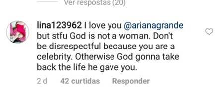 montero e god is a woman são músicas que irritaram grupos conservadores a foto é um print de um comentário criticando a música de Ariana Grande pelo instagram