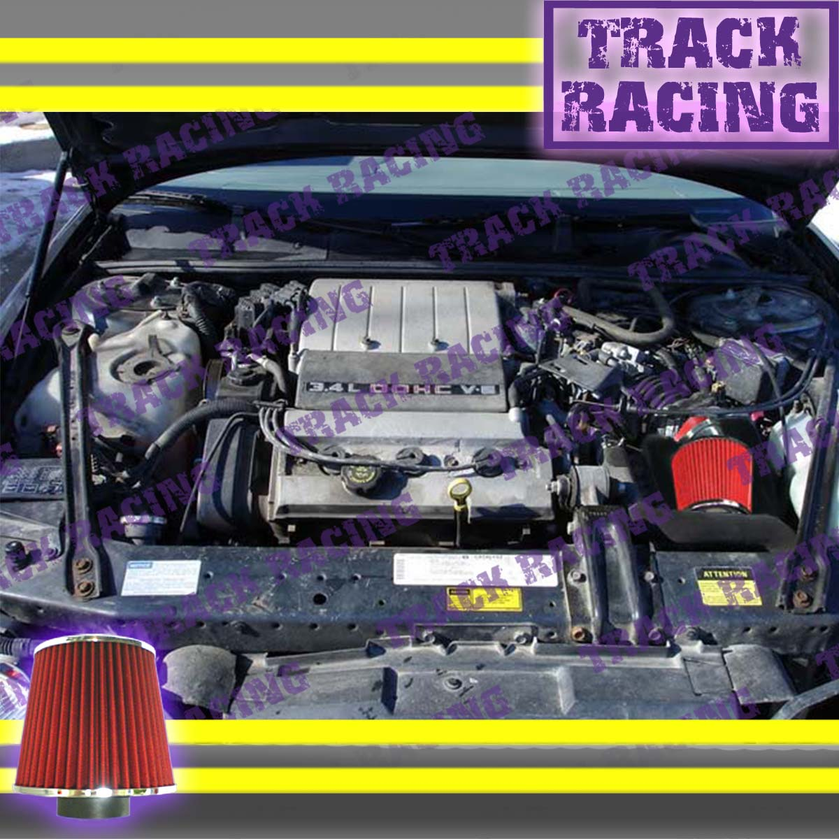 hight resolution of details about 96 97 chevy lumina oldsmobile cutlass supreme 3 4l v6 lq1 z34 air intake red