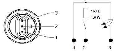 Bouton poussoir, PDF, jaune, AMP pour Deutz Agrotron