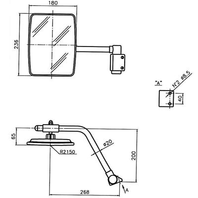 Rétroviseur avec bras droit pour Massey Ferguson 2200, Mc