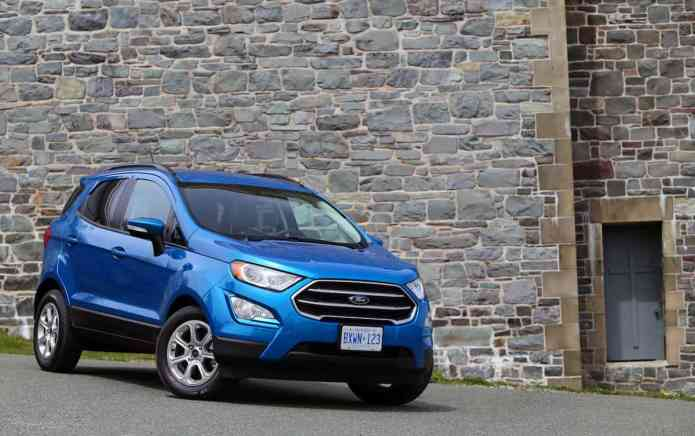 2018 Ford EcoSport Review front blue profile