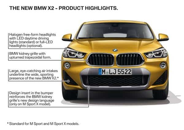 2018 bmw x2 features front