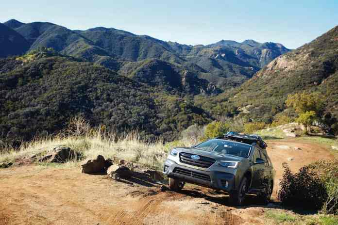 2020 subaru outback driving in the mountains