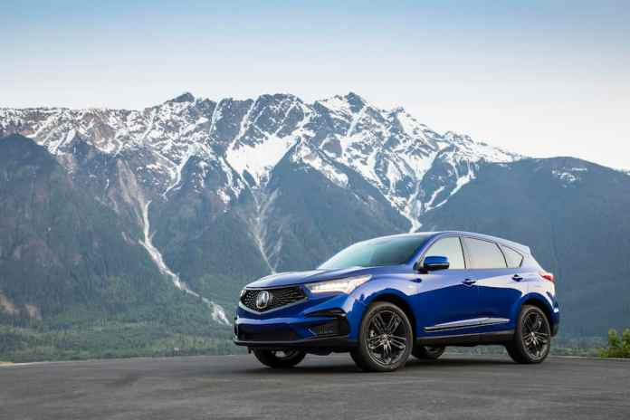 2020 Acura RDX A-Spec in blue front view in mountains