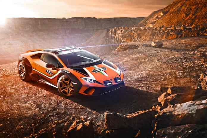 lamborghini Huracán Sterrato off-road supercar top view sitting in the mountains