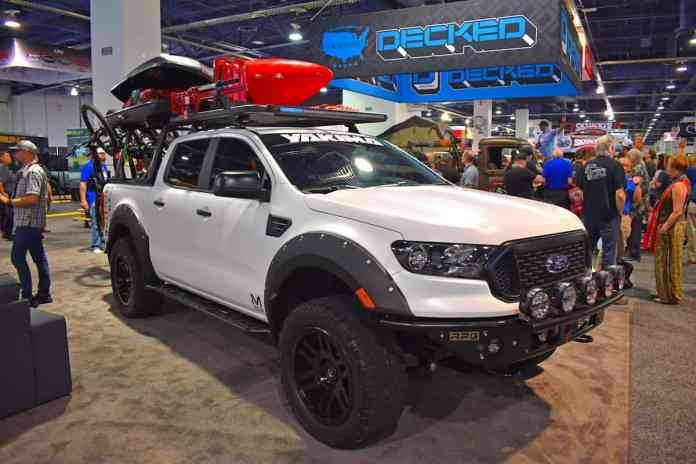 Yakima's Ford Ranger project truck for the 2019 SEMA Show had the LockNLoad platform rack and HangOver bike rack