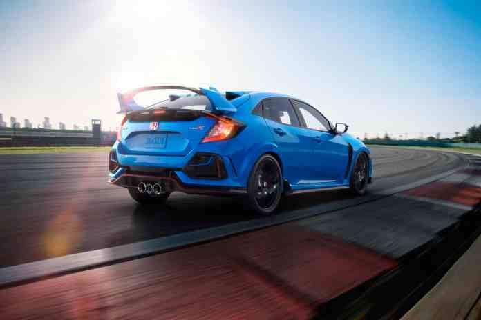 2020 Honda Civic Type R rear profile in blue