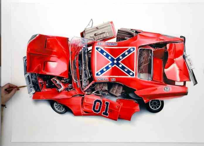 iconic movie cars by alessandro paglia general lee artwork