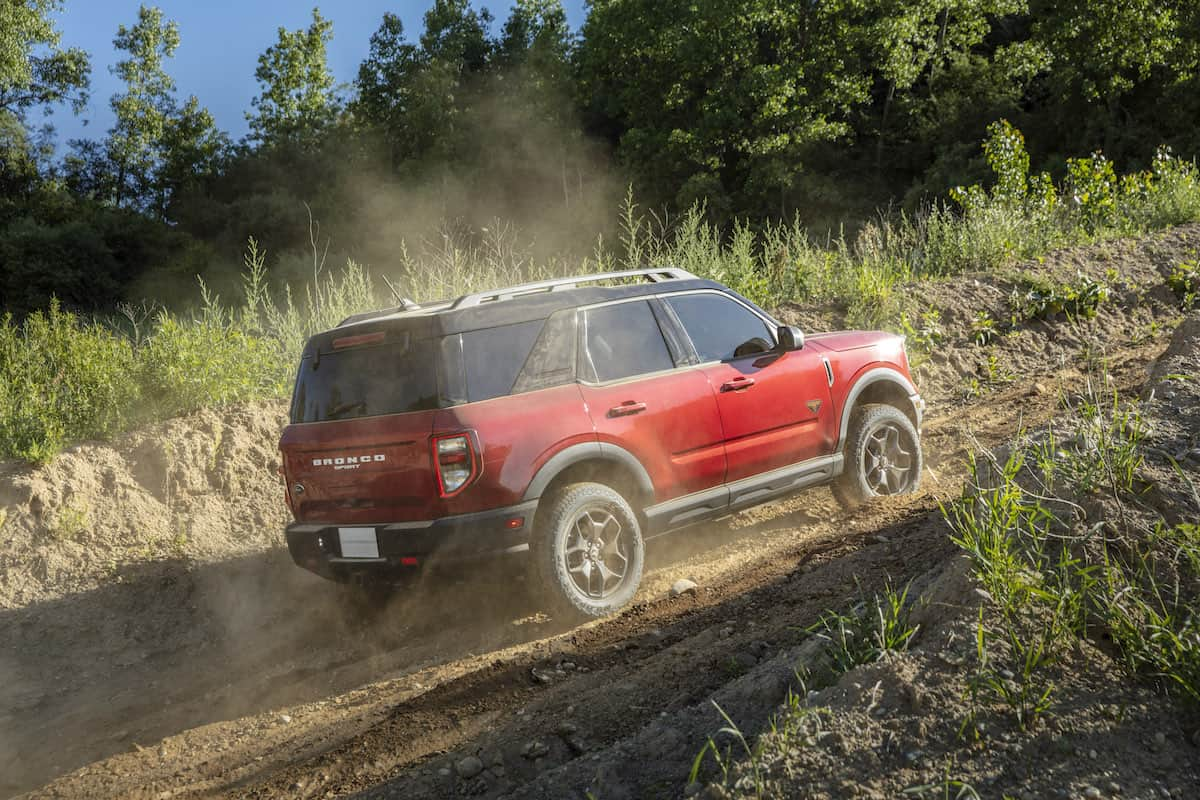 2021 Bronco Sport rear exterior in red off-roading