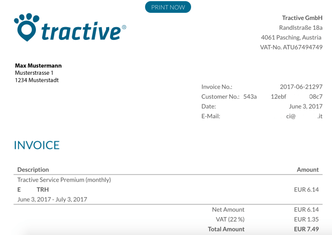 Service receipts - Example