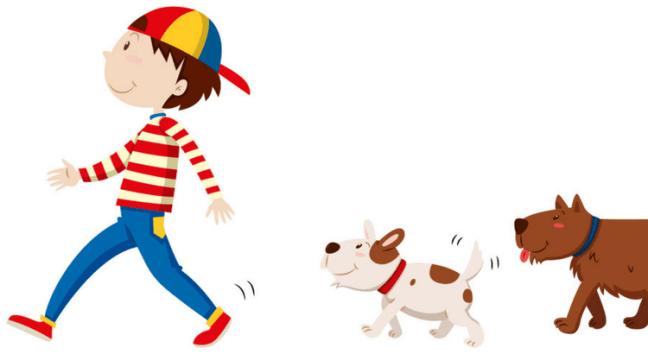 following dog
