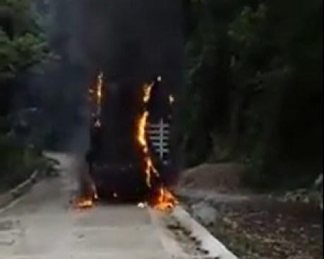 camión incendiado por no pagar extorsión