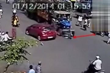 un homme se fait écrasé par un tracteur et survie