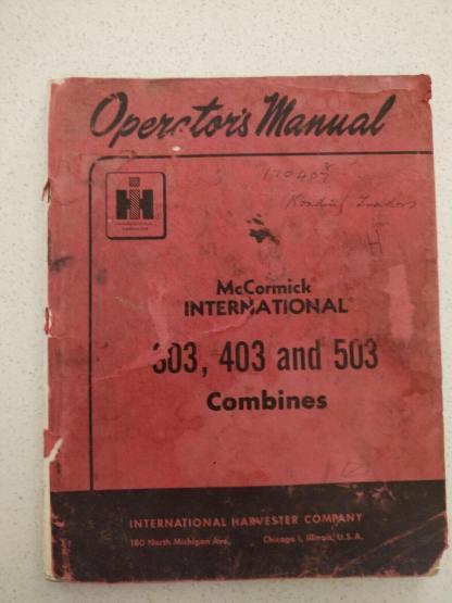 McCormick International 303 403 and 503 Combine Operators manual