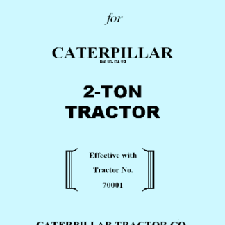 Caterpillar 2Ton Operator's Instruction Book