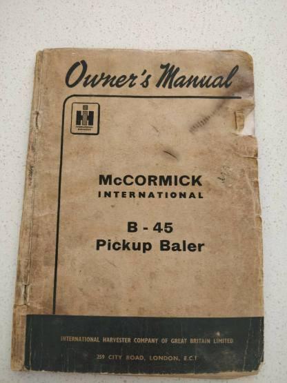 mccormick international b-45 pickup baler owner's manual
