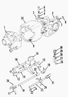 Case 1490, 1294 Tractor Synchromesh transmission with end