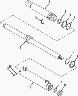 Case IH 885, 485 Tractor Steering Cylinder
