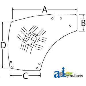TP Parts 1 A-87560791 Case-IH GLASS CAB DOOR RH Tractor