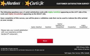 Hardee's Carl's Jr Feedback Survey