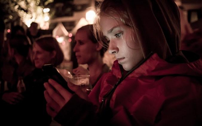 Girl on phone late night