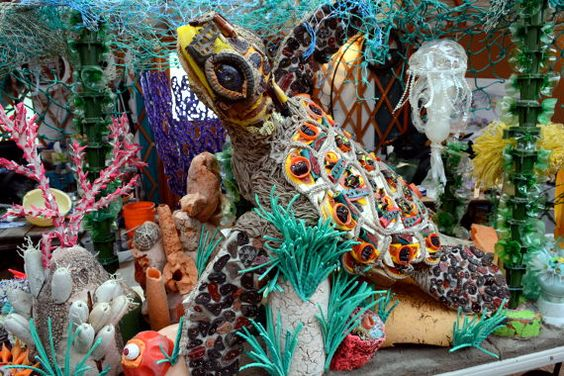 Sculptures made from ocean plastic by Washed Ashore
