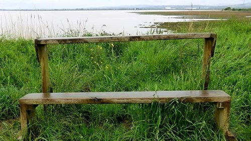 Don't lean back on this bench at Newport Wetlands
