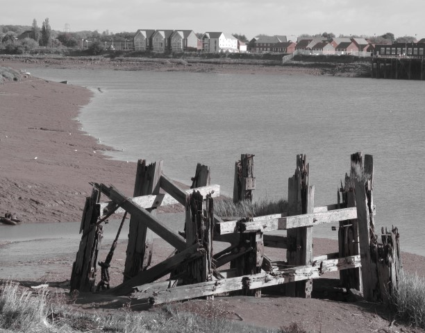 Old and new co-exist on the banks of the River Usk