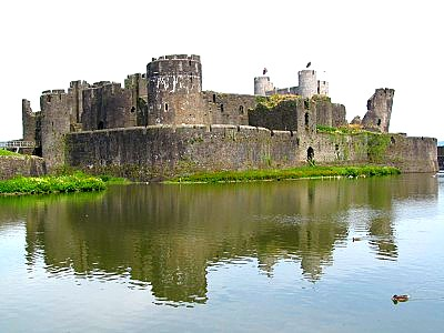 The massive Caerphilly Castle seen from across its moat